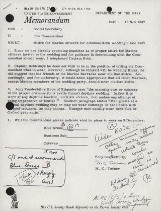 Memorandum on Attire for Johnson/Robb Wedding, 15 November 1967 by Flickr user Marine Corps Archives & Special Collections