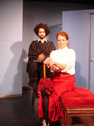 Sherman Edwards and Ellen Stoneking in 40 Whacks at the Annoyance Theatre by Flickr user Guy F. Wicke