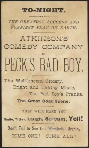 Atkinson's Comedy Co., 'Target scene.' (back) by Flickr user Boston Public Library