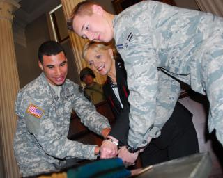 Cutting the 375th Birthday Cake by Flickr user North Carolina National Guard